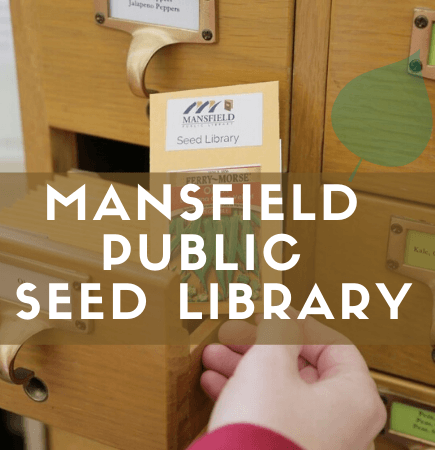 Mansfield Public Seed Library image with brown seed packet in background