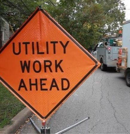 ATT utility work sign and truck