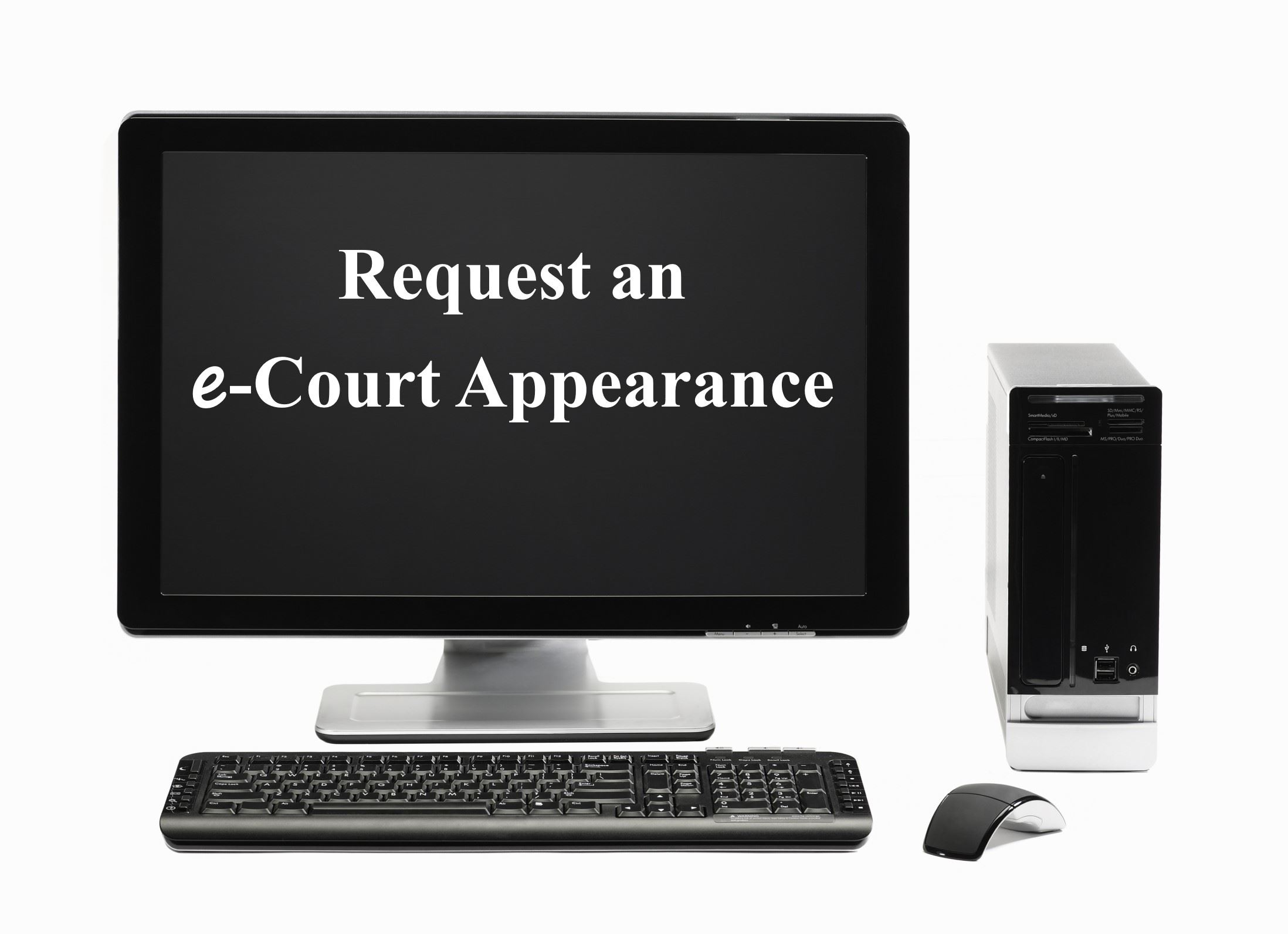 Picture of computer with link to virtual court page